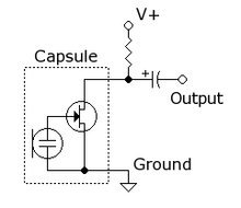 Schema electret microfoon aansluiten